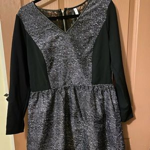 3/4 sleeve zipper and tweed detail knit dress